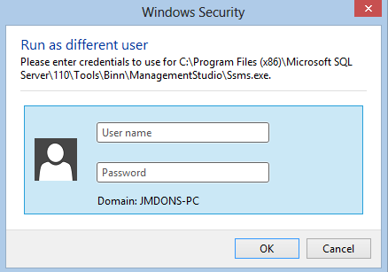 Run SSMS instance as different Windows user