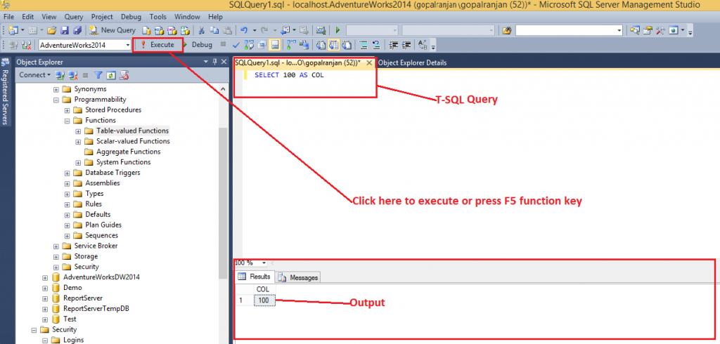 SQL Server Management Studio - Execute query