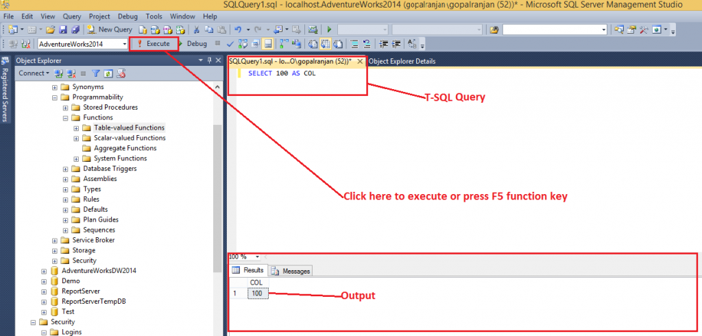 SQL Server Management Studio - Execute query