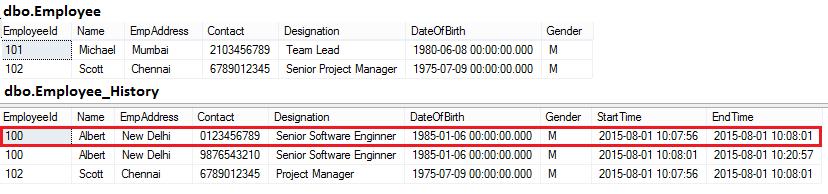 Temporal table delete rows