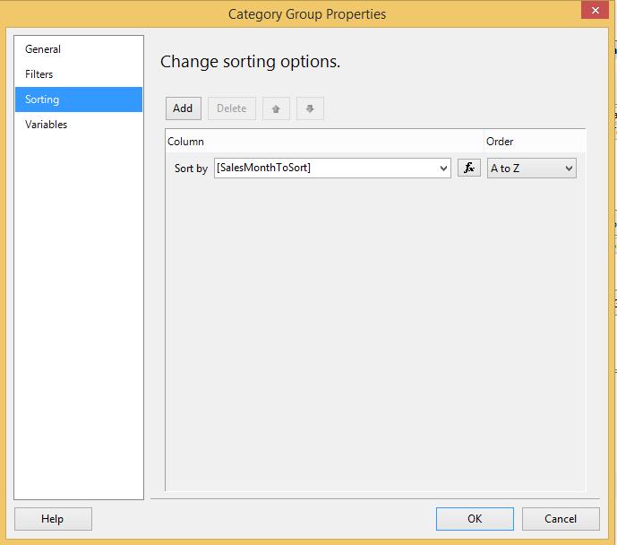 Change sort order for category