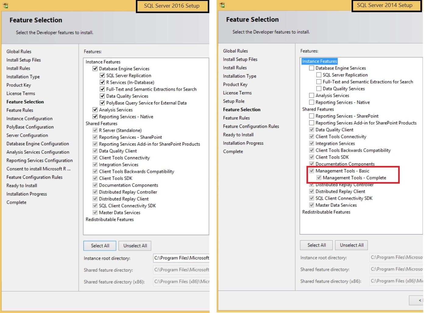 SQL Server 2016 Feature list 2016 vs SQL Server 2014 Feature List