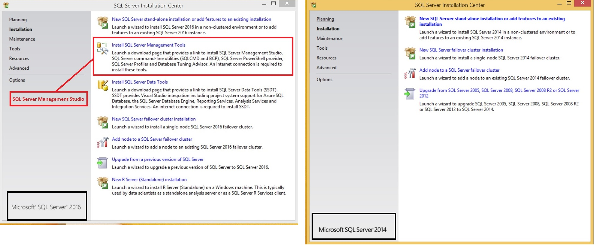 SQL Server 2016 vs SQL Server 2014 Installation - First screen comparison