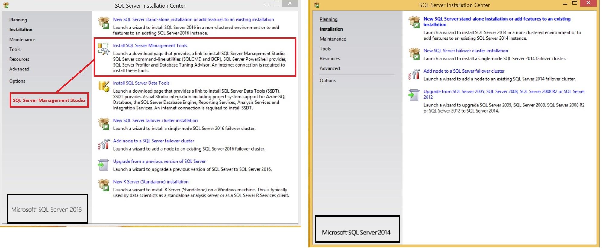 SQL Server 2016 vs SQL Server 2014 Installation - First screen comparison