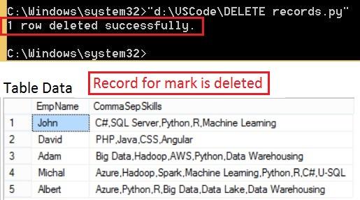 DELETE query output