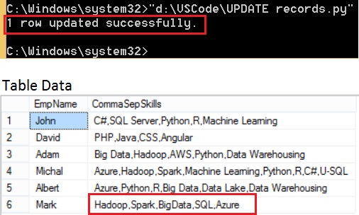 UPDATE query output