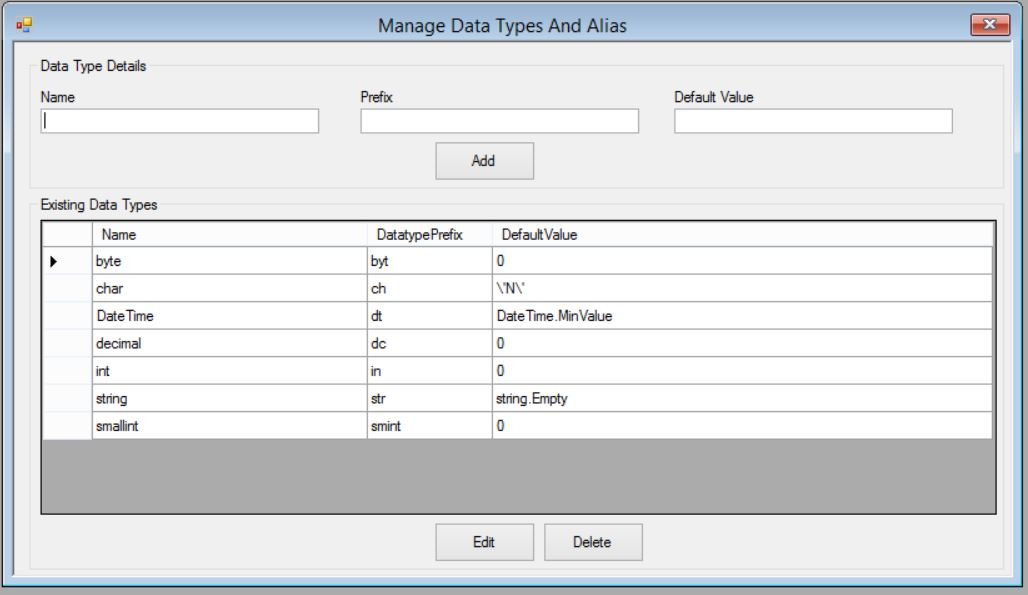 Manage data types