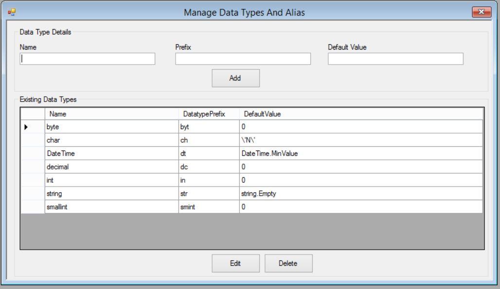 Manage data types