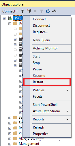 Restart SQL Server service from object explorer