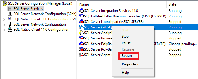 Restart SQL Server service from Configuration manager