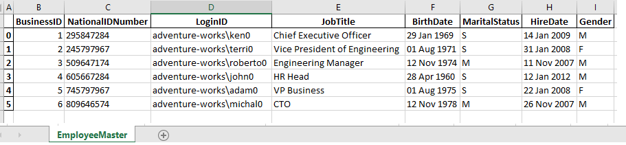 Excel export output